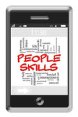Skills Word Cloud Concept on Touchscreen Phone — Stock Photo