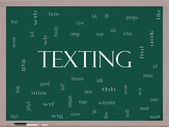 Texting Word Cloud Concept on a Blackboard — Stock Photo