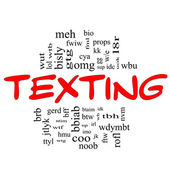 Texting Word Cloud Concept in red & black — Stock Photo