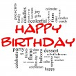 Happy Birthday Word Cloud Concept in red & black — ストック写真