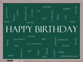 Happy Birthday Word Cloud Concept on a Blackboard — Stock Photo