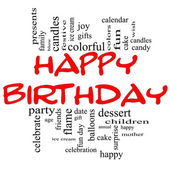 Happy Birthday Word Cloud Concept in red & black — Stock Photo