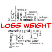 Lose Weight Word Cloud Concept in red & black — Stock Photo