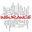 Stock Photo: Insurance word cloud concept in red & black