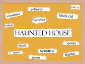 Haunted House Corkboard Word Concept — Stock Photo