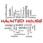 Haunted House Word Cloud Concept in red & black — Stock Photo