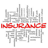 Insurance word cloud concept in red & black — Stock Photo