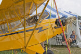 Yellow Piper Cub Plane ready for Alaska Close up — Stock Photo
