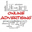 Online Advertising Word Cloud Concept in red & black - Stock Photo