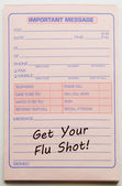 Erhalten sie ihre wichtige botschaft für die grippeschutzimpfung — Stockfoto