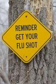 Recordatorio signo vacúnese contra la gripe — Foto de Stock