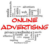 Online Advertising Word Cloud Concept in red & black — Stock Photo