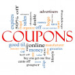 concept de nuage de mot coupons — Photo