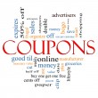 Coupons Word Cloud Concept — Stock Photo