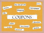 Coupons Corkboard Word Concept — Stock Photo