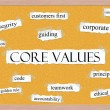 Core Values Corkboard Word Concept — Stock Photo #13428224