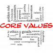 Core Values Word Cloud Concept in Red & Black — Stock fotografie