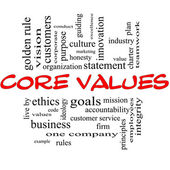 Core Values Word Cloud Concept in Red & Black — Zdjęcie stockowe