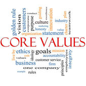 Core Values Word Cloud Concept — Foto Stock