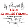 High Cholesterol Word Cloud Concept in Red & Black — Stock Photo