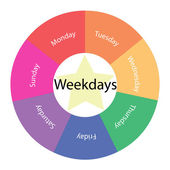 Weekdays circular concept with colors and star — Stock Photo
