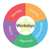 Workdays circular concept with colors and star — Stock Photo