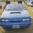 Постер, плакат: 1980 Blue Ford Mustang Front View
