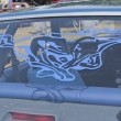 ストック写真: 1980 Blue Ford Mustang Rear Window Decal