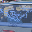 1980 Blue Ford Mustang Rear Window Decal — Zdjęcie stockowe #13596382