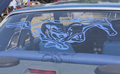 1980 blauwe ford mustang achterruit sticker — Stockfoto