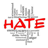 Hate Word Cloud Concept in Red and Black — Stock Photo
