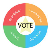 Vote circular concept with colors and star — Stock Photo