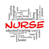 Nurse Word Cloud Concept in Red Caps — Stock Photo