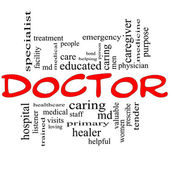 Doctor Word Cloud Concept in red and black — Stock Photo