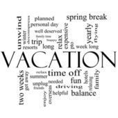 Vacation Word Cloud Concept in Black and White — Stock Photo