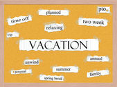 Vacation Corkboard Word Concept — Stock Photo