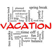 Vacation Word Cloud Concept in Red Caps — Stock Photo