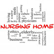 Nursing Home Word Cloud Concept in red and black — Stock Photo