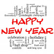 Stock Photo: Happy New Year Word Cloud in red and black