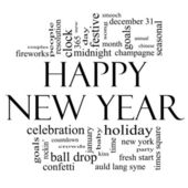 Happy New Year Word Cloud in Black and White — Stockfoto