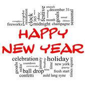 Nube de palabra feliz año nuevo en rojo y negro — Foto de Stock