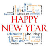 Happy New Year Word Cloud Concept — Stockfoto