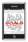 Goals Word Cloud Concept on Touchscreen Phone — Stock Photo