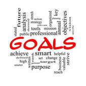Goals Word Cloud Concept in red and black — Stock Photo