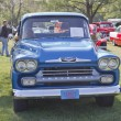Stock Photo: Blue 1958 Chevy Apache Front View