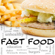 Burger and Fries Fast Food Word Cloud Concept - Stock Photo