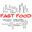 Fast Food Word Cloud Concept in red Capital letters - Stock Photo