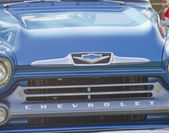 Blue 1958 Chevy Apache Grill Close up — Stock Photo