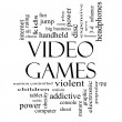 Постер, плакат: Video Games Word Cloud Concept in Black and White