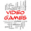 Stock Photo: Video Games Word Cloud Concept in Red Caps